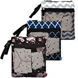 NiceEbag 3 pcs Baby Wet and Dry Cloth Diaper Bags Travel Nappy Organizer Bag Waterproof Reusable with Two Zippered Pockets(Blue Lantern and Grey Wave and Black Rose)