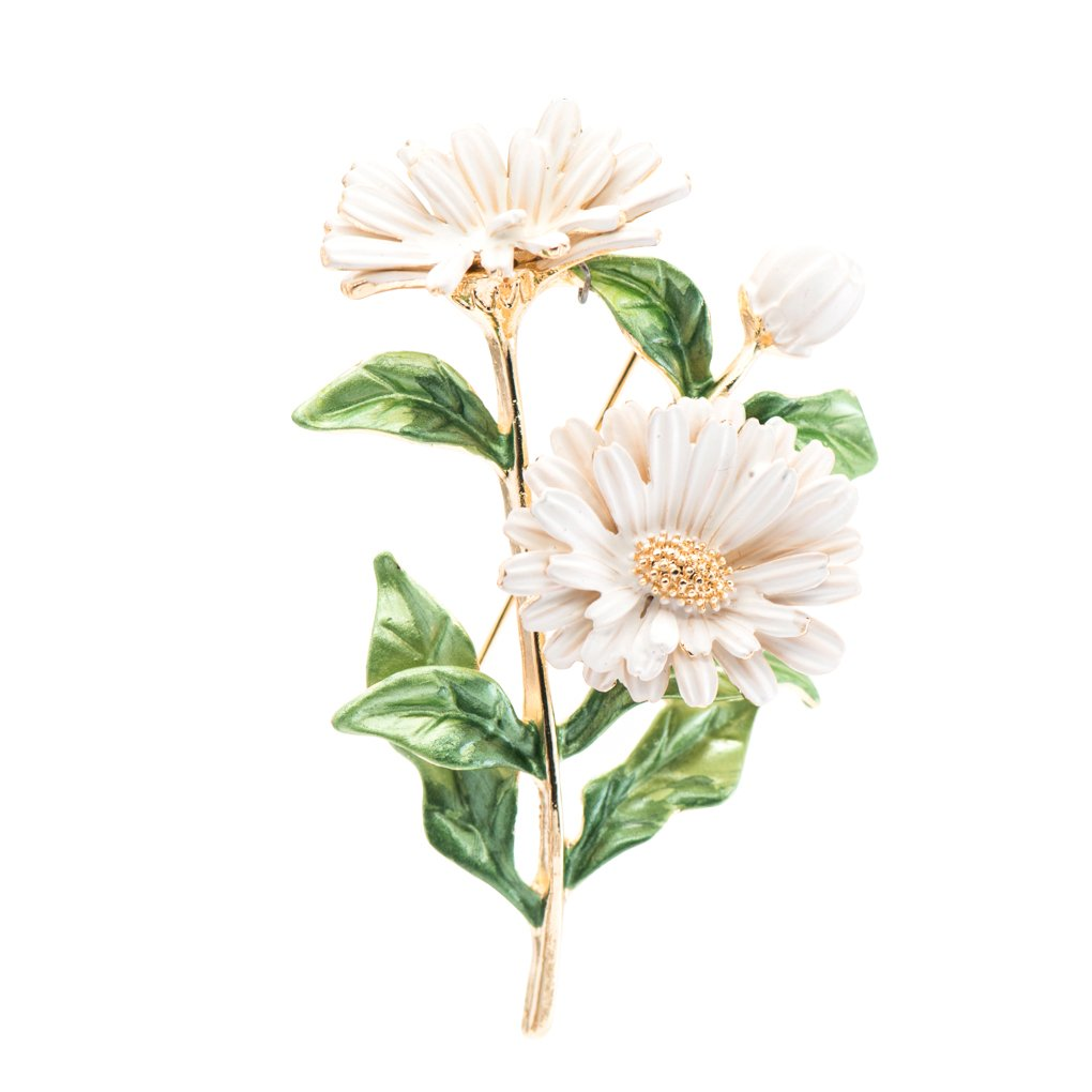 SEPBRIDALS Beautiful Enamel Flower Daisy Brooch Broach Pin Women Jewelry Accessories HB058 (White)