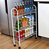 Yontree 3-Tiers Kitchen Storage Cart Gap Storage Rack Mesh Wire Rolling Cart on 4 Wheels