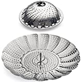 "100% Stainless Steel Vegetable Steamer Basket / Insert for Pots, Pans, Crock Pots & more... 5.5"" to 9.3"" - Includes bonus Extension Handle...By Sunsella"