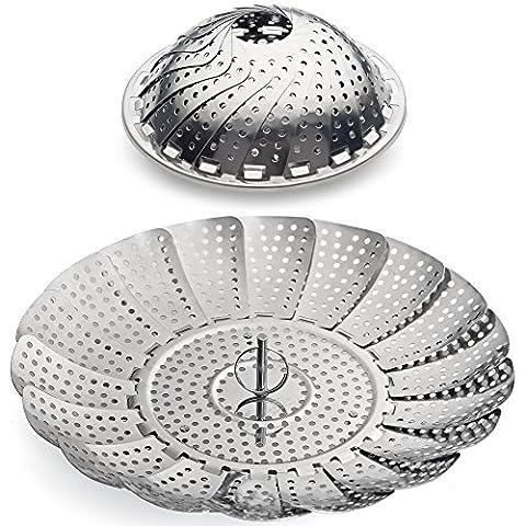 100% Stainless Steel Vegetable Steamer Basket / Insert for Pots, Pans, Crock Pots & more... 5.5