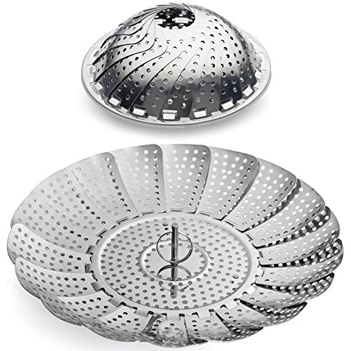 100% Stainless Steel Vegetable Steamer Basket / Insert for Pots, Pans, Crock Pots & more... 5.5