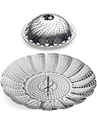 """100% Stainless Steel Vegetable Steamer Basket / Insert for Pots, Pans, Crock Pots & more... 5.5"""" to 9.3"""" - Includes bonus Extension Handle...By Sunsella"""