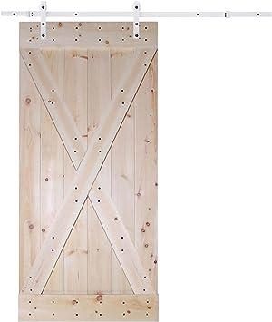 6.6 ft blanco puerta corredera Hardware Set con x-panel placa de ...