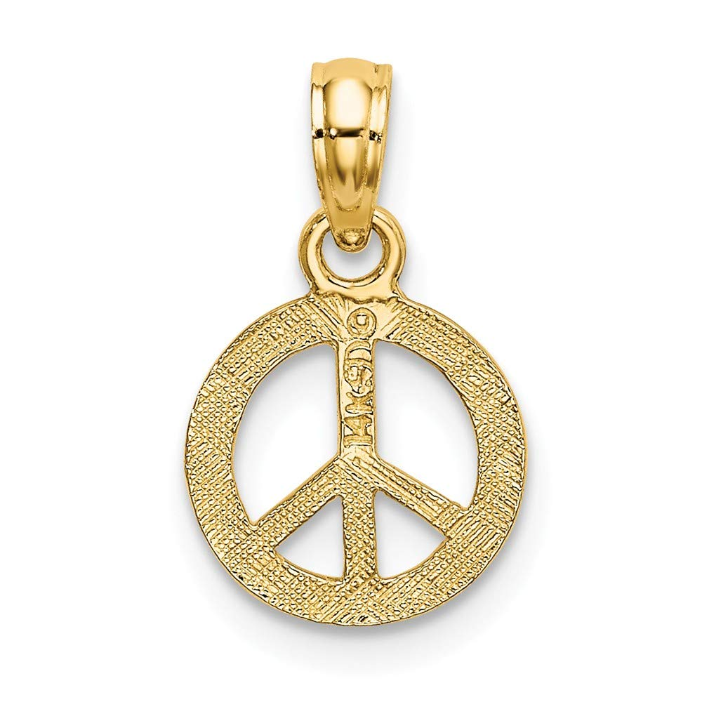 FB Jewels 14K Yellow Gold Mini Peace Sign Flat and Textured Pendant