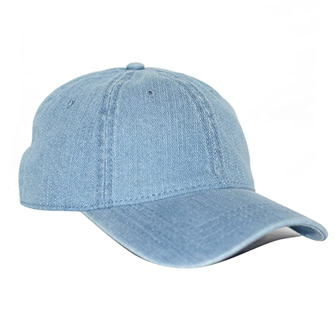 66e46f33c69bb Blue Denim 6 Panel Blank Style Cotton Adjustable Baseball Dad Cap Hat  (Light Blue)