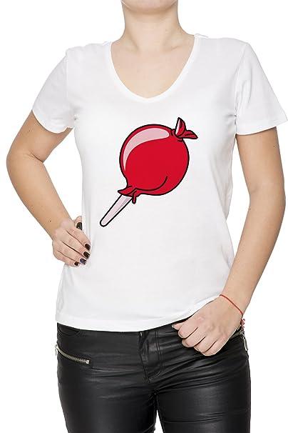 Chupete Mujer Camiseta V-Cuello Blanco Manga Corta Todos Los ...