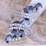Women Fashion 925 Silver Rainbow Topaz Ring Wedding Engagement Jewelry Size 6-10 (9)