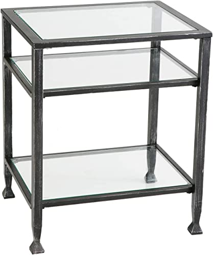 SEI Furniture Jaymes Metal Glass 3-Tier End Table