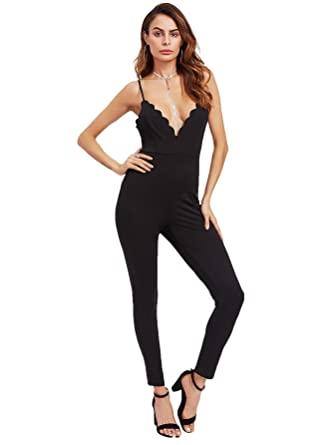 6b8a61d6adc Romwe Women s Sexy Scalloped Plunge Neck Crisscross Unitard Slim Fit  Jumpsuit - Black - S
