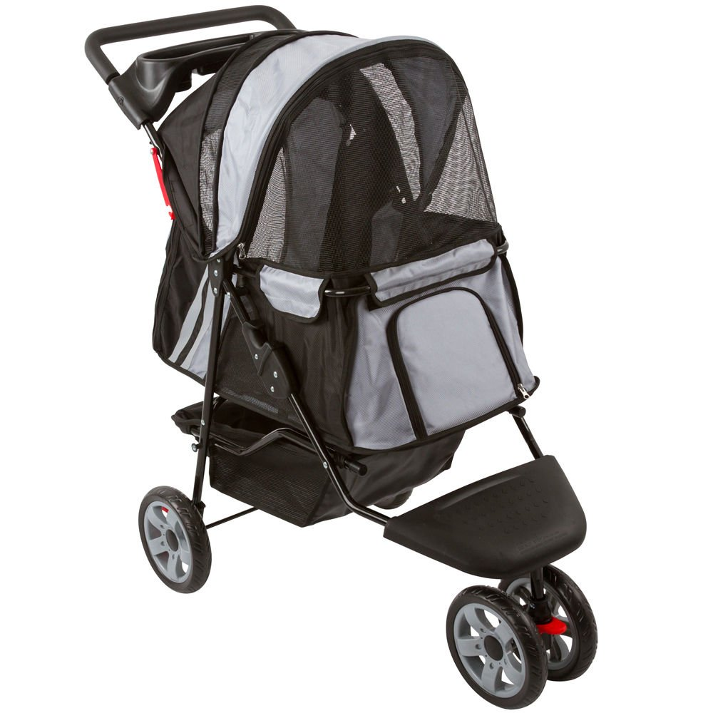 GHP Black & Silver Zephyr 3-Wheel Dog Carrier Jogger Pet Stroller Pet Dog Cat Supplies