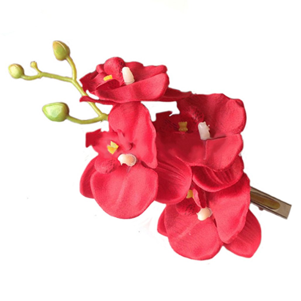 Women Fashion Orchid Flower Hair Clips for Wedding Bridal Hawaii Party Hair Accessories (White) Brussels08