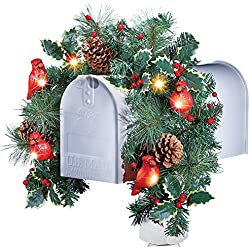 Christmas Floral Mailbox Decoration with Cardinals & Solar Lights