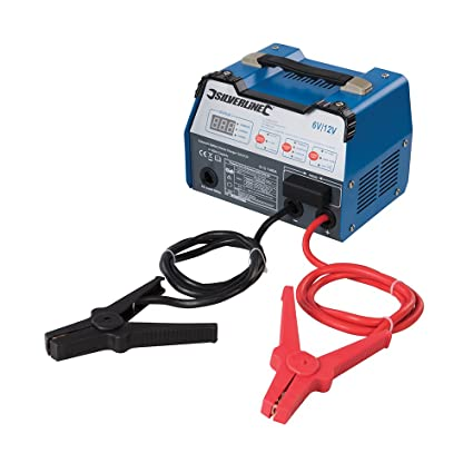 Silverline 549095 Cargador y Arrancador de Batería Automático 12 A, 6/12 V, Capacidad 8-180Ah