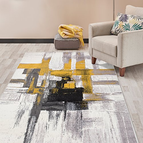 (Rugshop Contemporary Modern Abstract Area Rug 5' x 7' Gold)