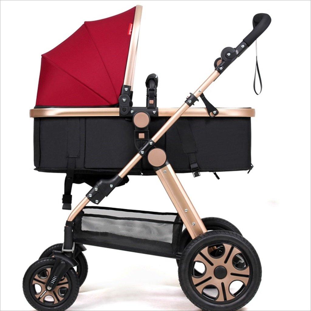 新生児の赤ちゃんキャリッジ折りたたみ可能な座って、1ヶ月のためのダンピングの赤ちゃんカートに落ちることができます 3歳の赤ちゃんの双方向四輪ベビートロリーを振るのを避ける (色 : 赤) B07DVHD1L2 赤 赤