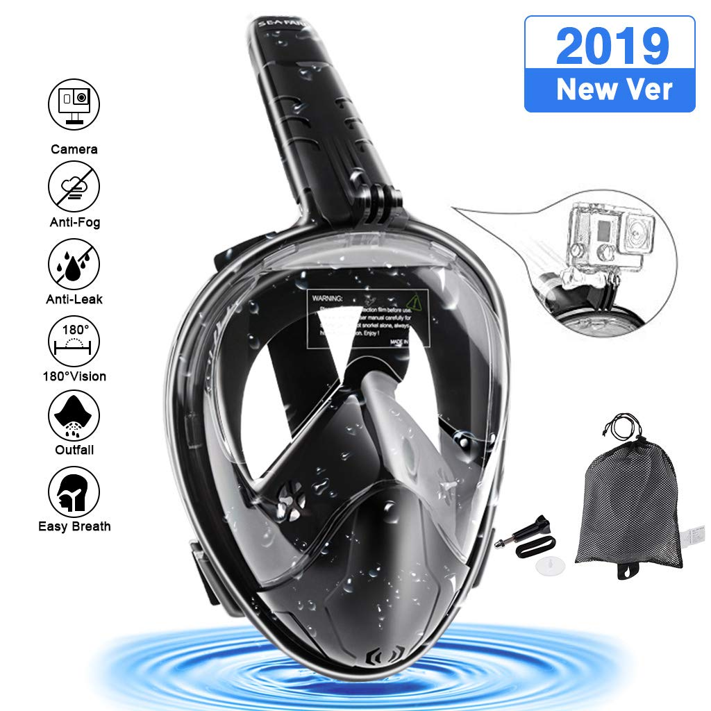 Seafard Full Face Snorkel Mask, 180 Degree Panoramic Larger View Dive Mask with Camera Mount and Adjustable Head Straps,Safe Breathing,Anti-Leak & Anti-Fog for Adult and Kids-L/XL Black by Seafard