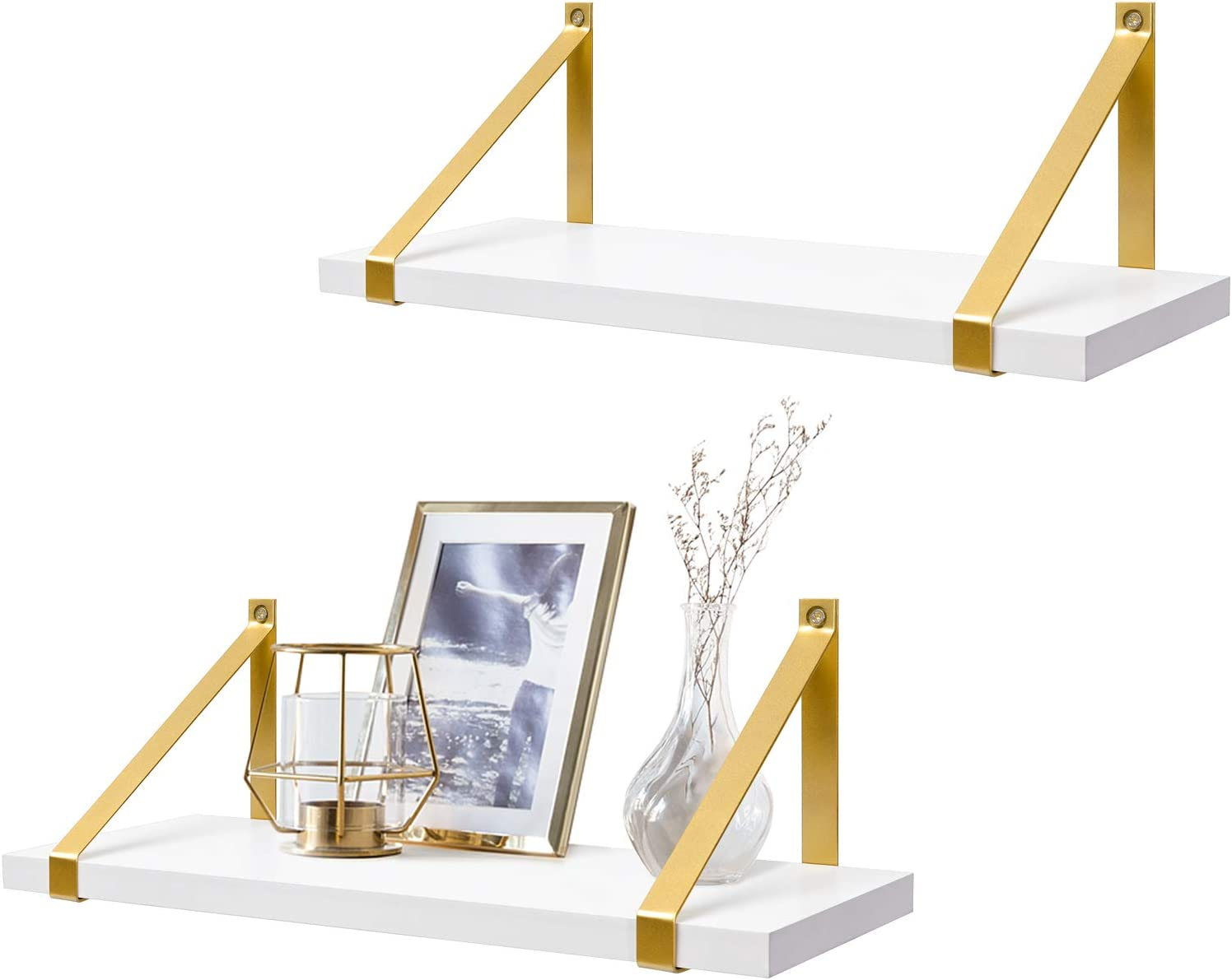 Mkono Morden Floating Shelves Wall Mounted Decorative Shelves Set of 2 White Wooden Shelves with Gold Metal Brackets for Bathroom Living Room Bedroom Kitchen Office, 17 Inches