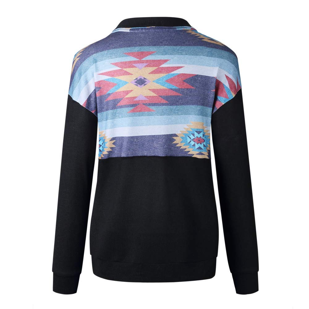 iTLOTL Fashion Womens Long Sleeve Print Pockets Zipper Sweatshirt Pullover Blouse Tops