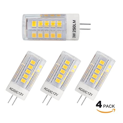 Princeway 4X Pack AC/DC12V G4 Bombillas LED- Luminosidad Alto 3W SMD2835 LED, Transparente PC Difusor, ...