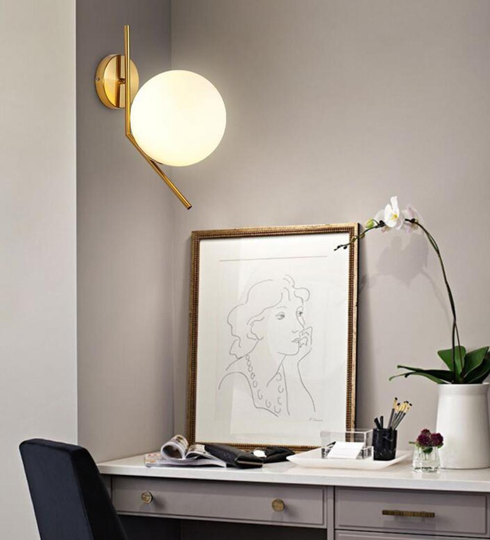 Modern Kreativ Einfach Wandleuchte Platz innen Deckenstrahler Design Rund Eleganter Glas Lampenschirm Nachttisch Wandlampe Metall Schlafzimmer-Lichter Wohnzimmerlampe(Goldfarben )Ø20cm