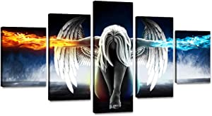 "Yatsen Bridge Modern Angel with Fire Ice Wings Painting Prints on Canvas 5 Pieces Abstract Angel Wall Art Pictures Modern Posters Artwork Living Room Office Home Decor Stretched Framed (60"" Wx32 H)"