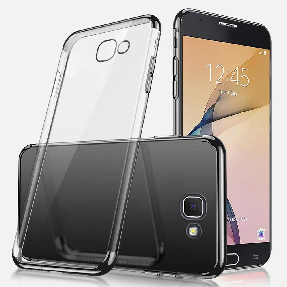 Uposao Kompatibel mit Galaxy J5 Prime//On5 2016 H/ülle Plating TPU Case mit /Überzug Farbig Rahmen H/ülle Transparent Slim Case Cover Durchsichtig D/ünn Crystal Clear Silikon Handyh/ülle,Rot