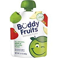 Buddy Fruits Pure Blended Fruit To Go Apple Orchard Blend Applesauce | 100% Real Fruit | No Sugar, Non GMO, Vegan, Gluten Free, No Preservatives, BPA Free , Certified Kosher | 3.2oz Pouch 18 Pack