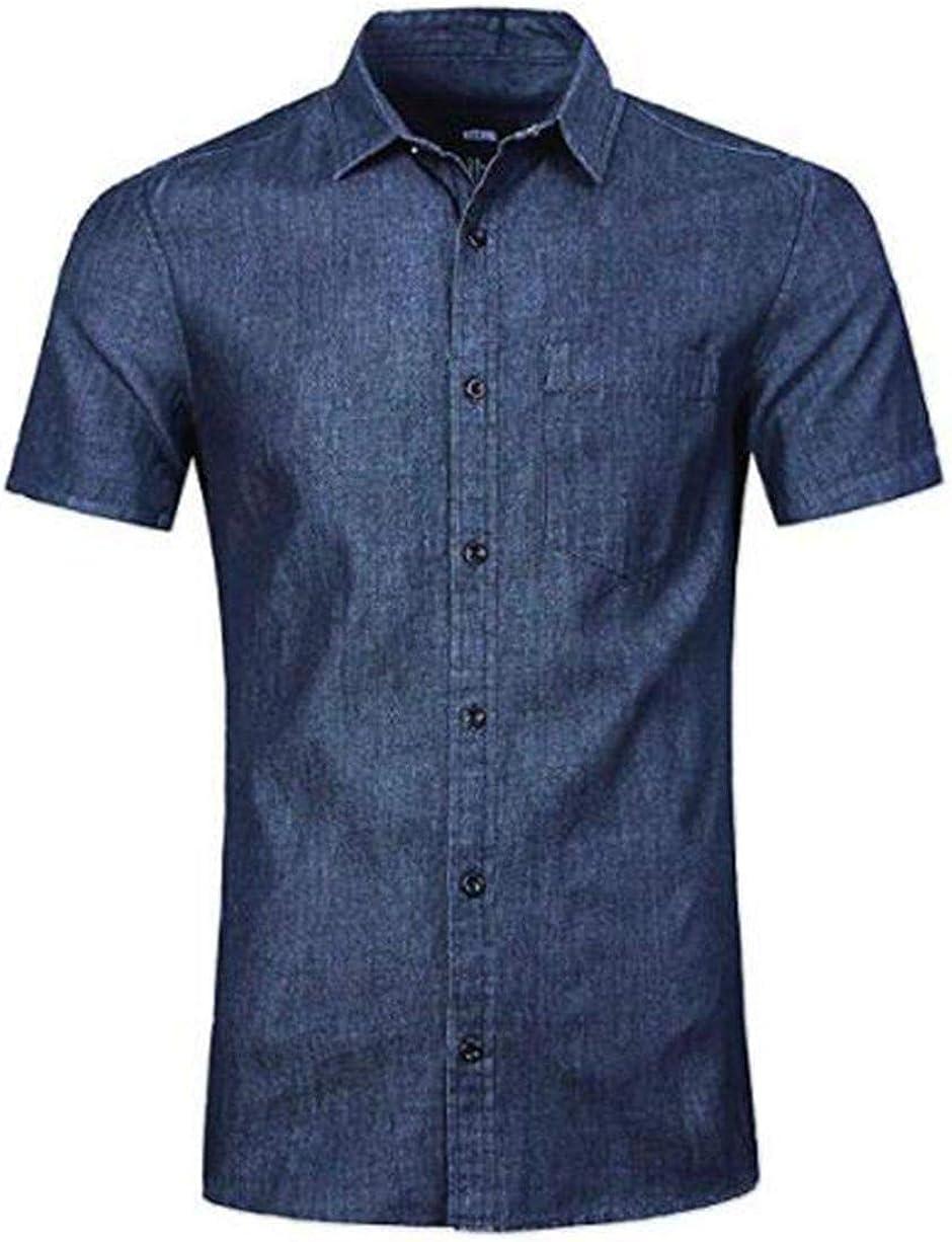 NUTEXROL - Camisa vaquera de manga corta para hombre, corte regular azul oscuro XXXL: Amazon.es: Ropa y accesorios