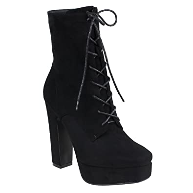 EI47 Women's Side Zipper Lace Up Platform Ankle Booties Half Size Small