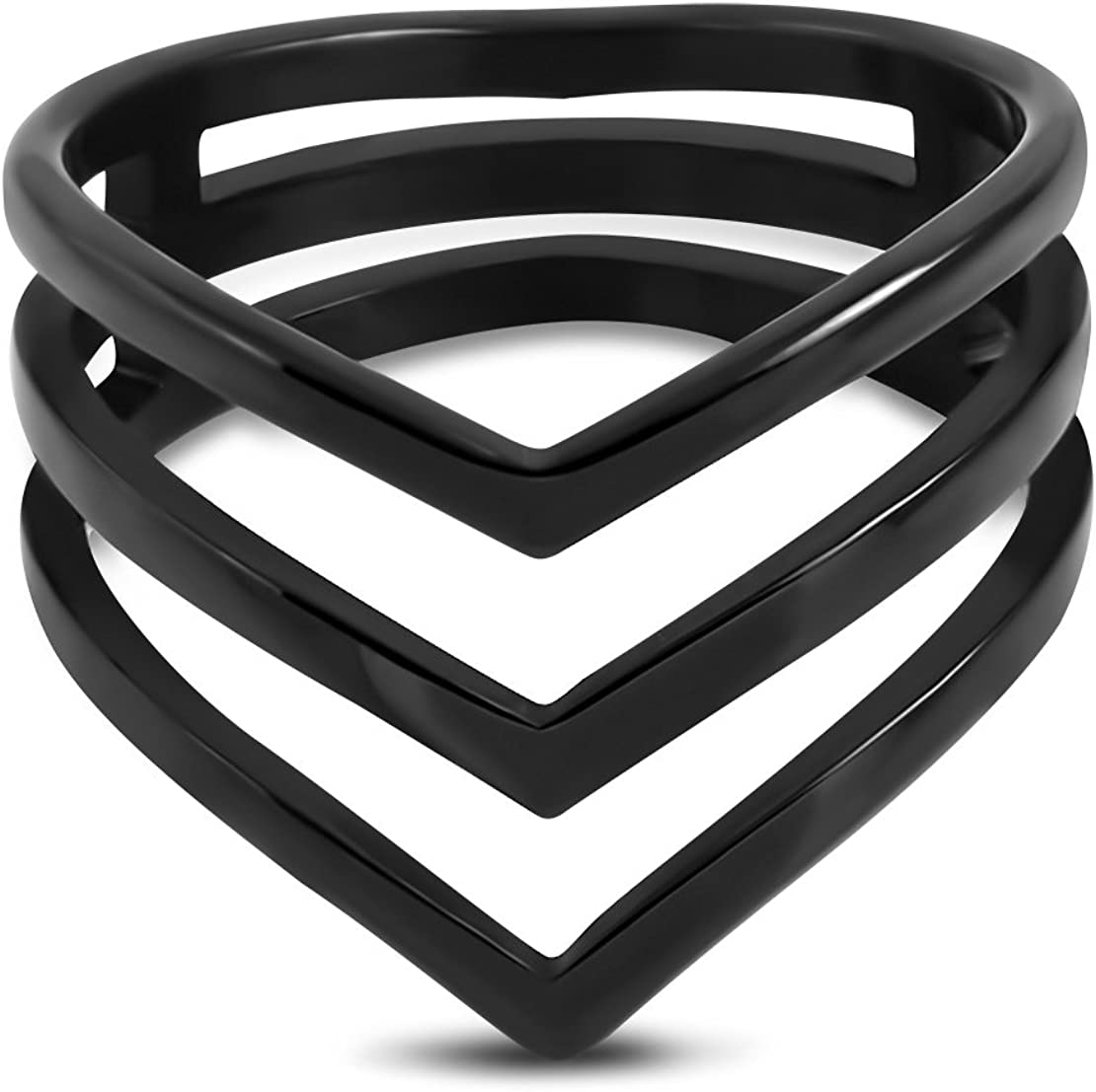 Stainless Steel Black Concentric Triangle Fancy Ring