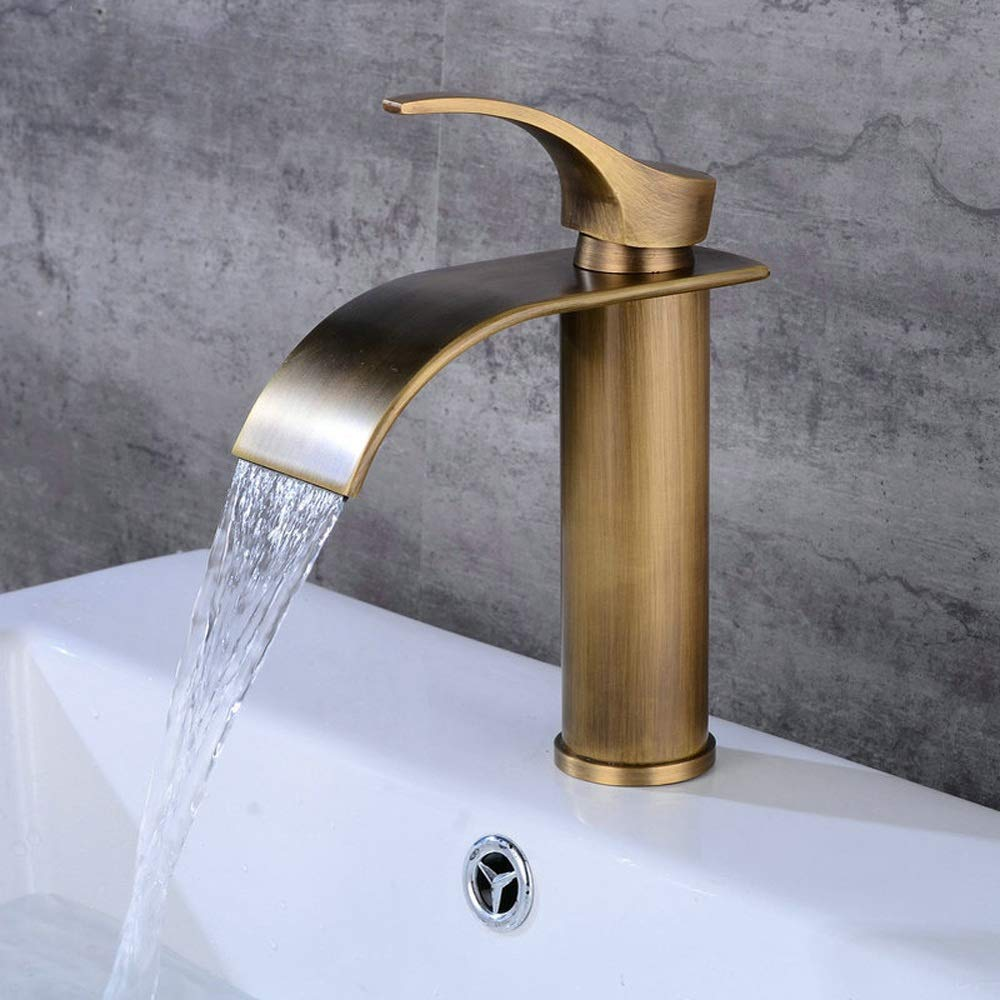 Antique Vinteen Short Paragraph Faucet Water-tap Hot And Cold Basin Water Dragon Head Hot And Cold Waterfall Faucet Bathroom All Bronze Single Hole Faucet White Tap (color   White)