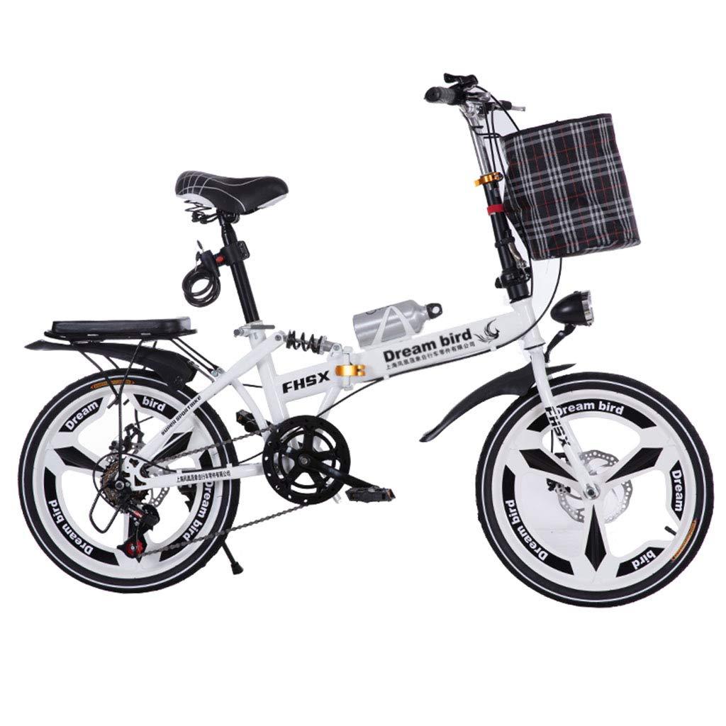 折りたたみ自転車 自転車折畳み式ディスクブレーキ20インチ衝撃吸収ユニセックス超軽量ポータブル折りたたみ自転車 (Color : 白, Size : 150 * 35 * 110cm) B07JD4ZZDN  白 150*35*110cm