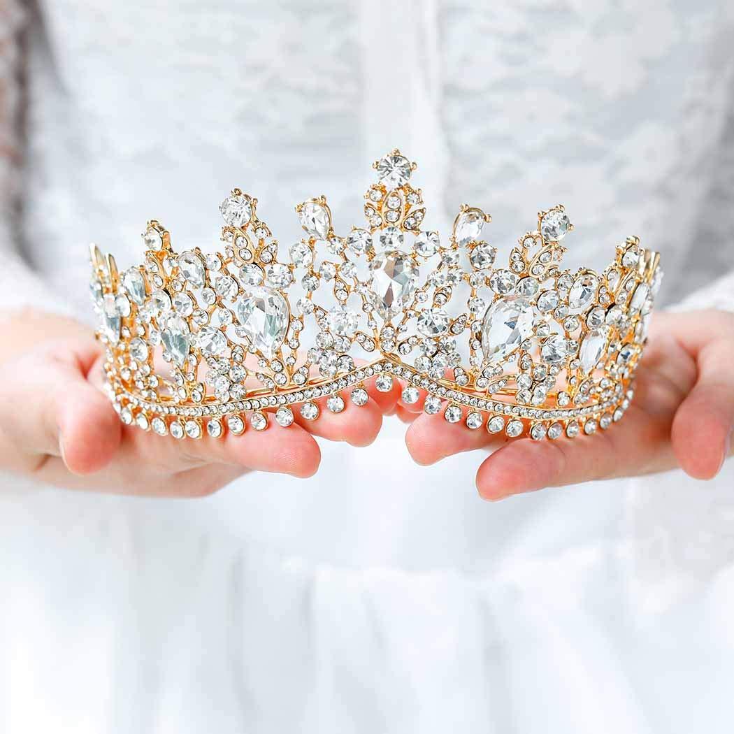Gold Rhinestone And JewelTiara  Bridal Or Flower Girl Tiara  Gold Princess Tiara  Girls Through Adult Head Size Tiara  Gold Tiara