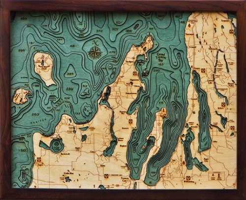 Grand Traverse Bay, Michigan 3-D Nautical Wood Chart, 24.5