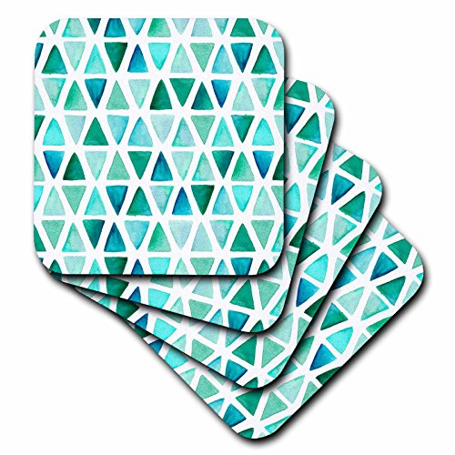 3dRose Anne Marie Baugh - Patterns - Contemporary Hand Painted Aqua and Green Hand Painted Triangles - set of 8 Ceramic Tile Coasters - Painted Hand Triangle
