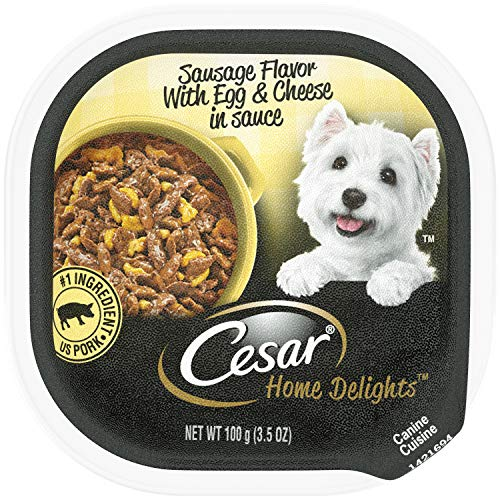 CESAR HOME DELIGHTS Wet Dog Food Sausage Flavor With Egg and Cheese in Gravy, (24) 3.5 oz. Trays