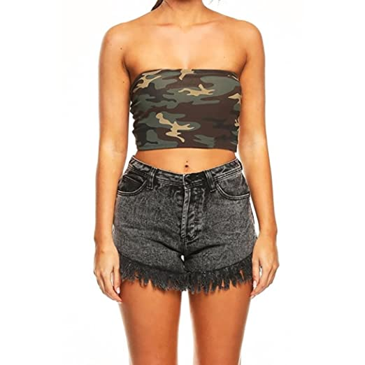 c1a1f2d14fb Longay Women Strapless Camouflage Boob Bandeau Tube Tops Bra Lingerie  Breast Wrap (S