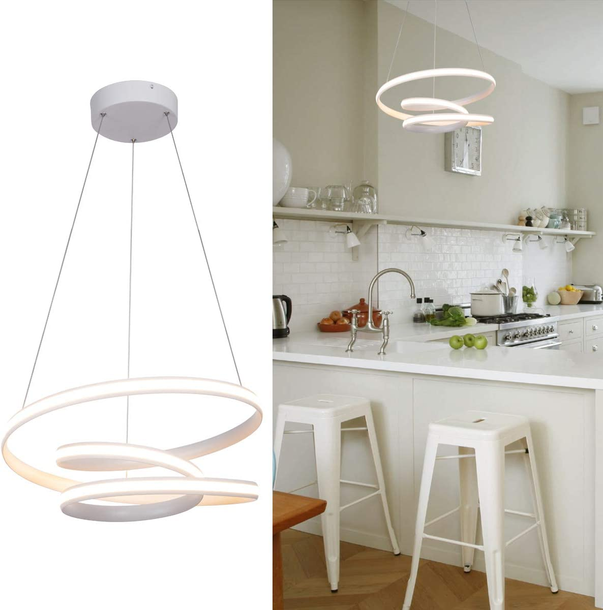 Modern LED Pendant Light with Irregular Ring Contemporary Pendant Light Not Dimmable Warm White 3000K Adjustable Pendant Light Fixture for Dining Room Living Room Bedroom, White, Dia 20 , by HL