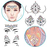 Rhinestone Face Gems Sticker Mermaid Face and Brest Jewels Tattoo Glitter Festival Bindi Party Rainbow Face Stickers,Set of 5