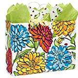 Vibrant Floral Paper Shopping Bags - Vogue Size - 16 x 6 x 12 1/2in. - 150 Pack