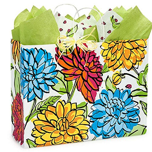 Vibrant Floral Paper Shopping Bags - Vogue Size - 16 x 6 x 12 1/2in. - 150 Pack by NW