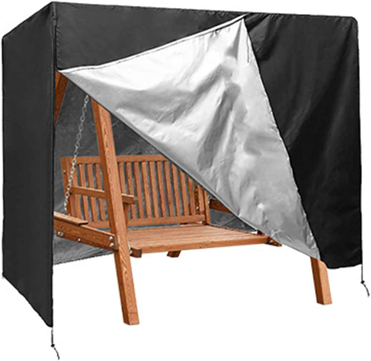 StorMaster Patio Swing Cover (87 L x 60 D x 72 H inches) Water-Resistant Canopy Swing Cover with 2 Zippers 3 Seater Waterproof Outdoor