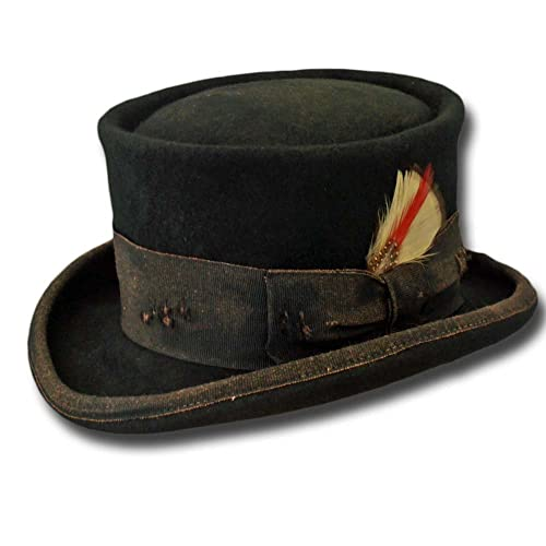 116ec445d18374 Amazon.com: Western Desert Rat Aged Top Hat Black: Handmade