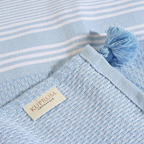 Kuprum Striped Peshtemal Beach Bath Towel, Turkish Cotton Pestemal Fouta Hammam Towel with Tassels Pom Poms Compact Thin Light Absorbent Quick Dry for Travel Spa Sauna Camping Yoga(Light Blue 39''x71'') by Kuprum (Image #3)