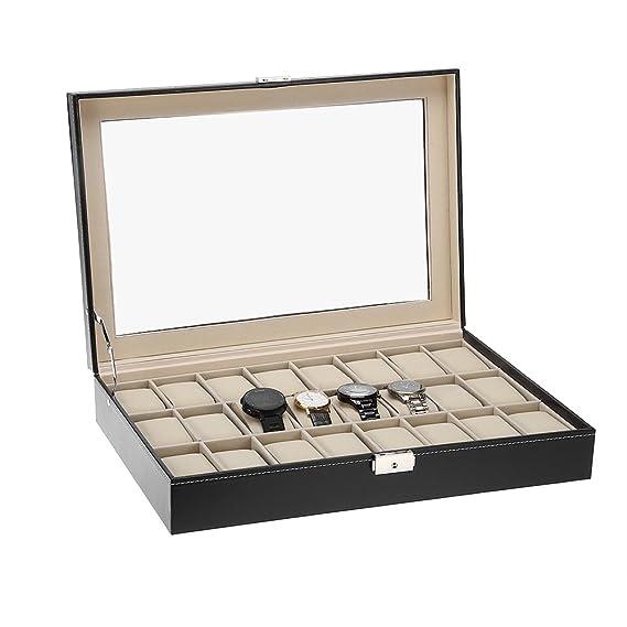 Cajas para relojes estuche de relojes 24 compartimentos para ...