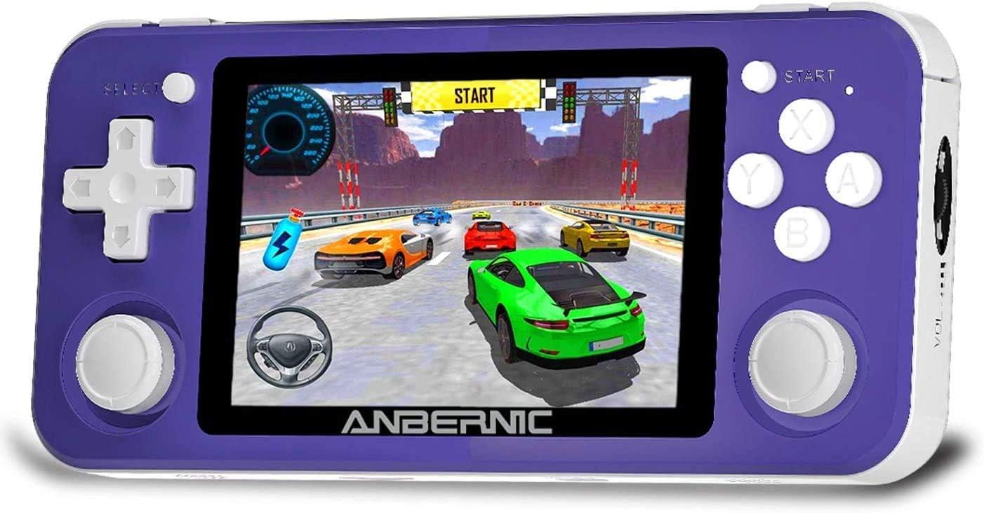 RG351P Consolas de Juegos Portátil , Consola de Juegos Retro Game Console 3.5 Pulgadas IPS Videojuegos Portátil Free with 64G TF Card Built-in 2500 Juegos Support PSP / PS1 / N64 / NDS - Purple