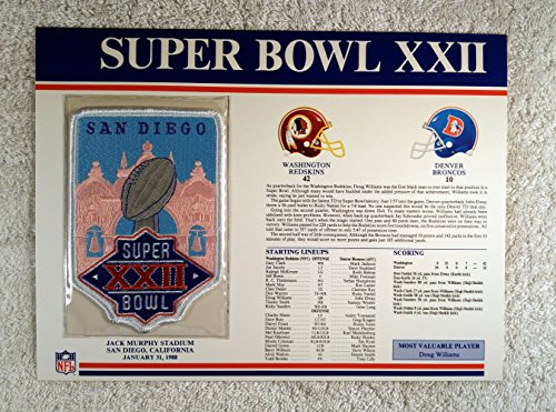 Super Bowl XXII (1988) - Official NFL Super Bowl Patch with complete Statistics Card - Washington Redskins vs Denver Broncos - Doug Williams MVP - Doug Williams Super Bowl