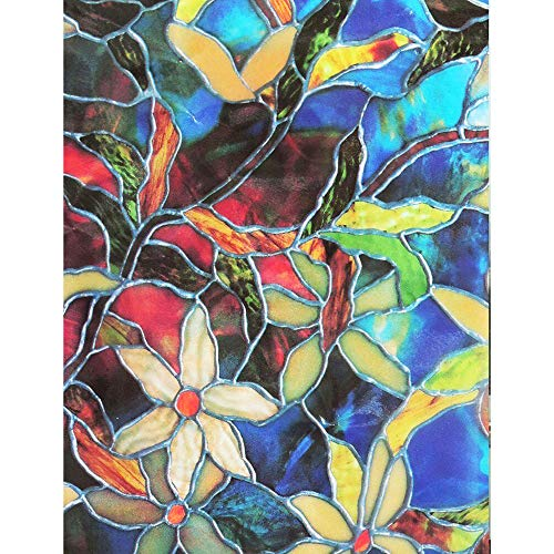 theoneshop66 Static Cling Frosted Stained Flower Glass Window Film Sticker Privacy Decor from theoneshop66