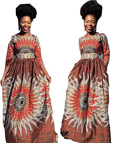 womem 3/4 sleeve African ankara full length maxi dress (10)